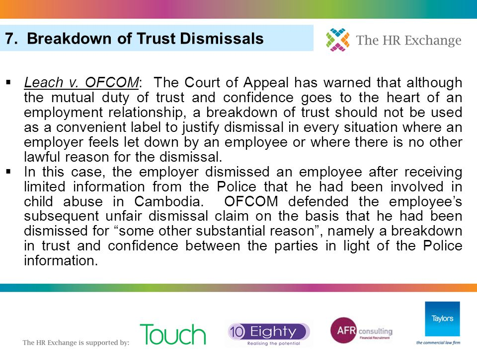 7. Breakdown of Trust Dismissals