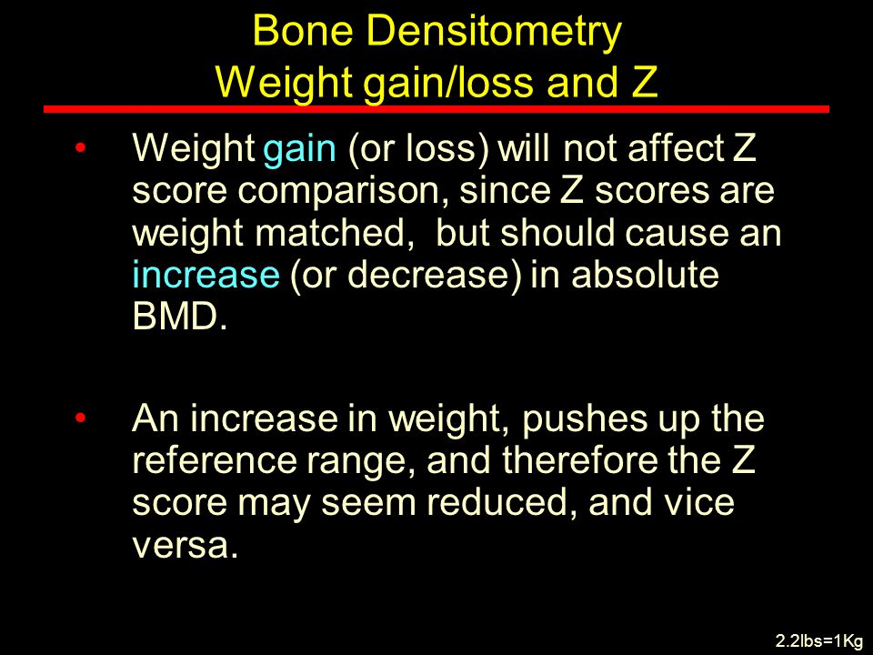 Bone Densitometry Weight gain/loss and Z