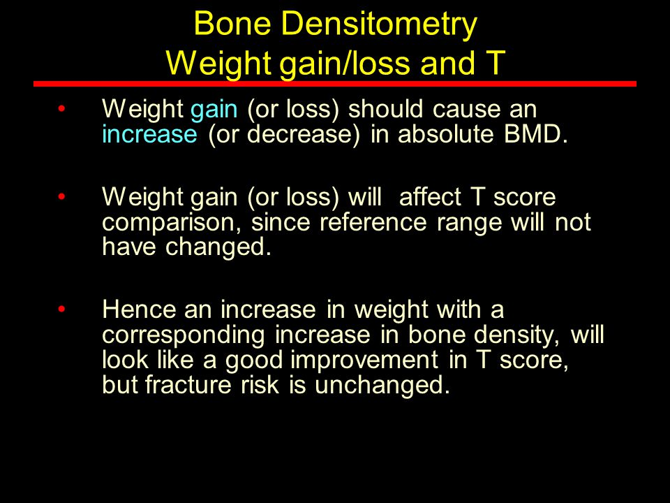 Bone Densitometry Weight gain/loss and T