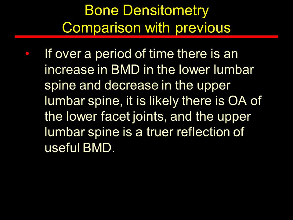 Bone Densitometry Comparison with previous