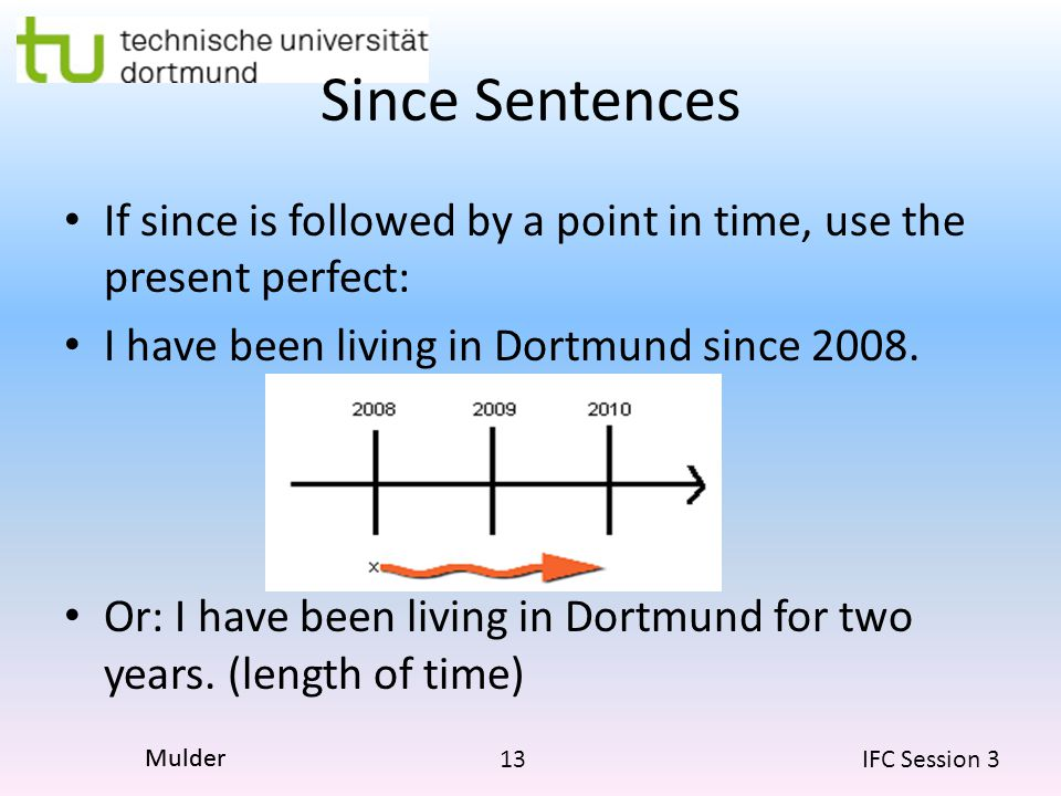 Since Sentences If since is followed by a point in time, use the present perfect: I have been living in Dortmund since 2008.