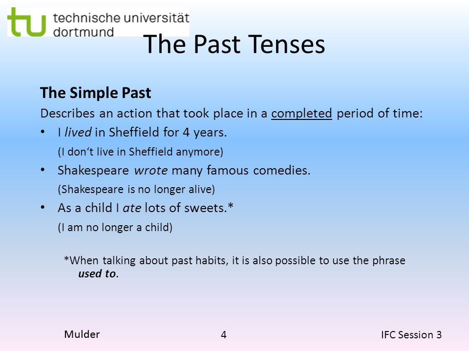 The Past Tenses The Simple Past