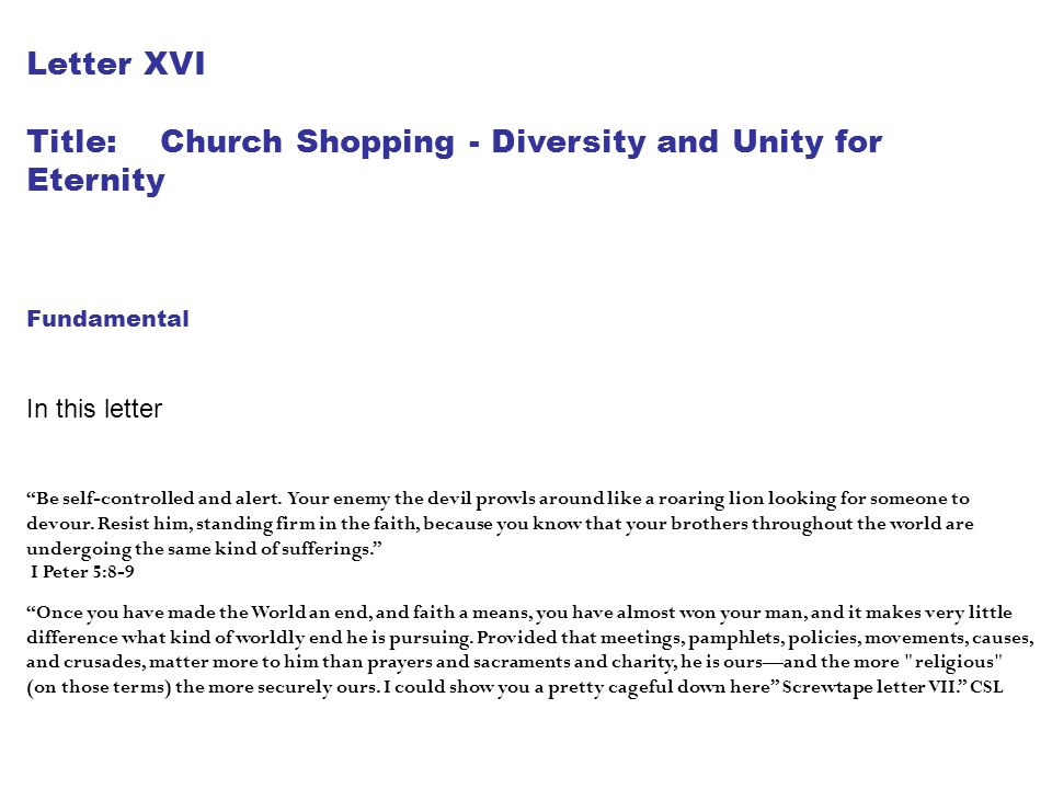 Title: Church Shopping - Diversity and Unity for Eternity