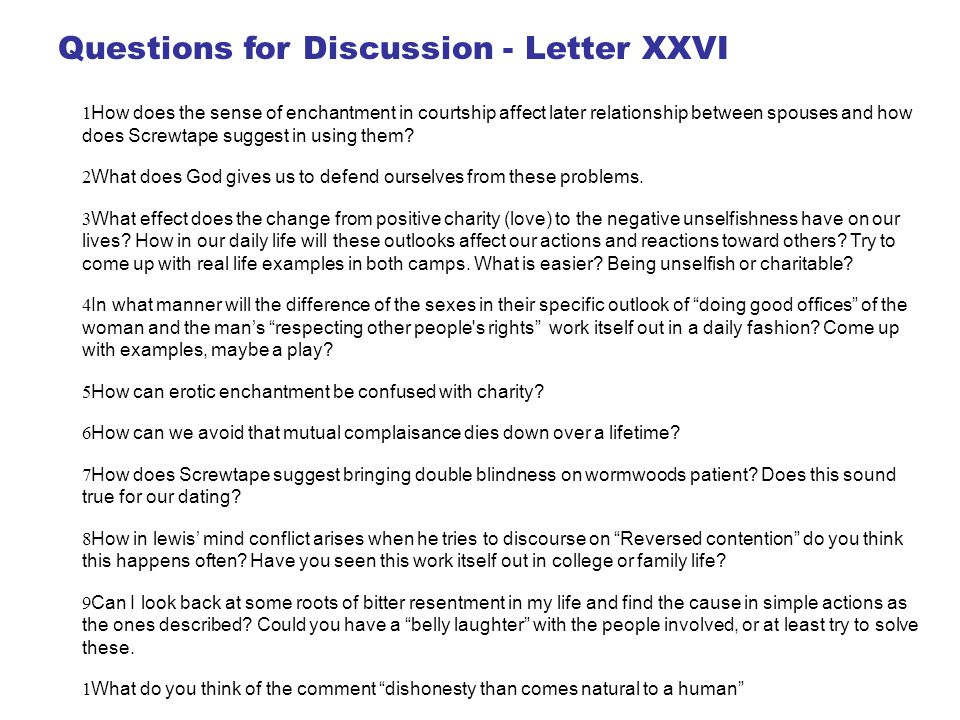 Questions for Discussion - Letter XXVI
