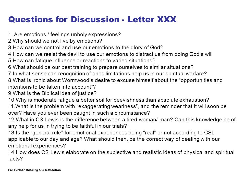 Questions for Discussion - Letter XXX