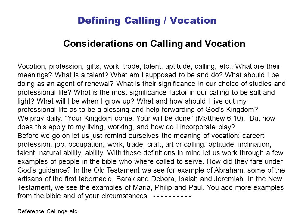 Defining Calling / Vocation