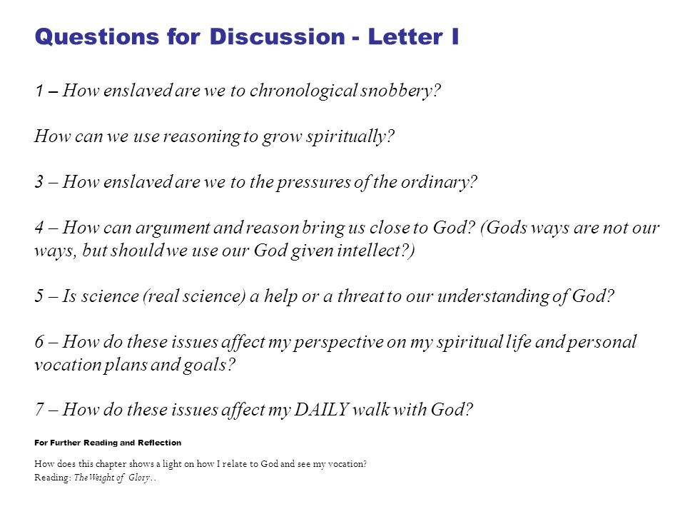 Questions for Discussion - Letter I
