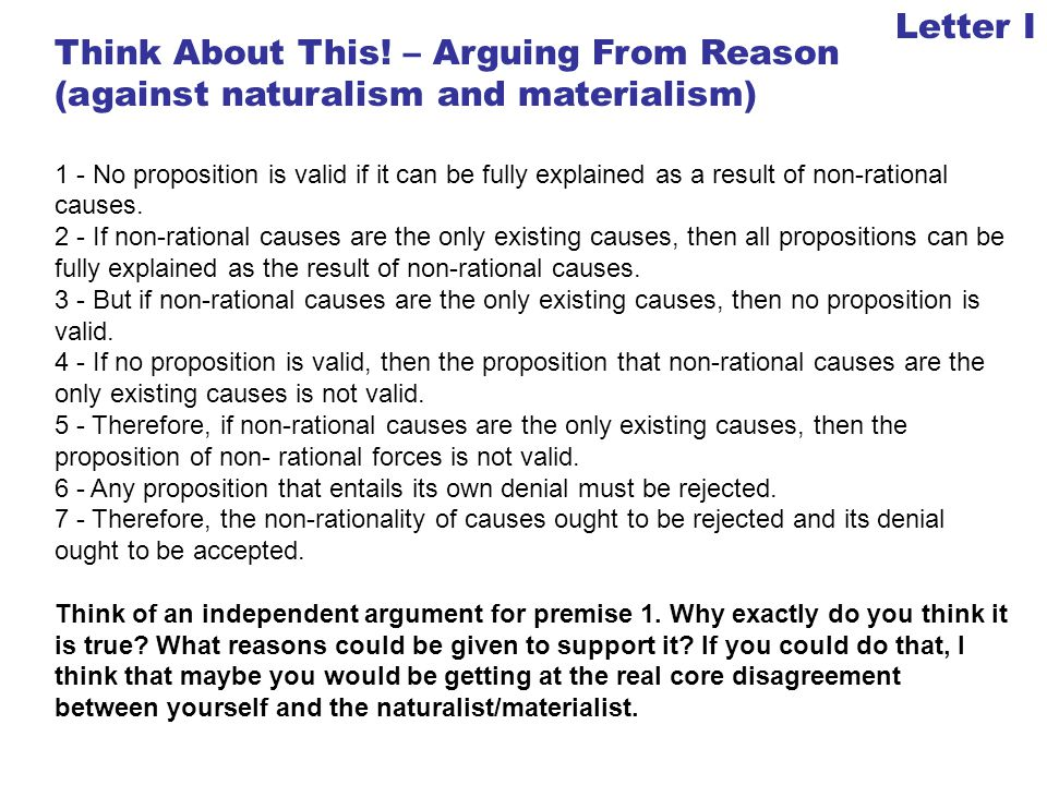 Think About This! – Arguing From Reason