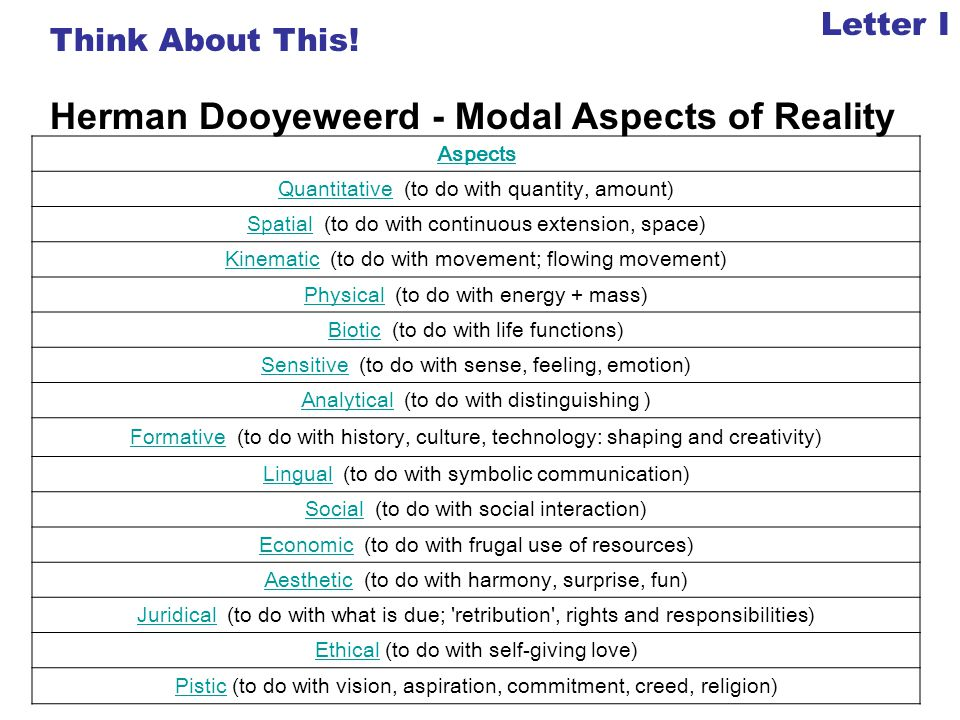 Herman Dooyeweerd - Modal Aspects of Reality