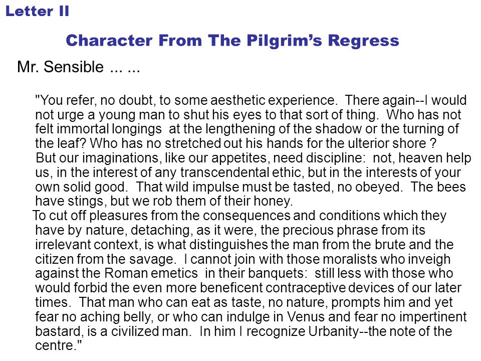 Character From The Pilgrim's Regress