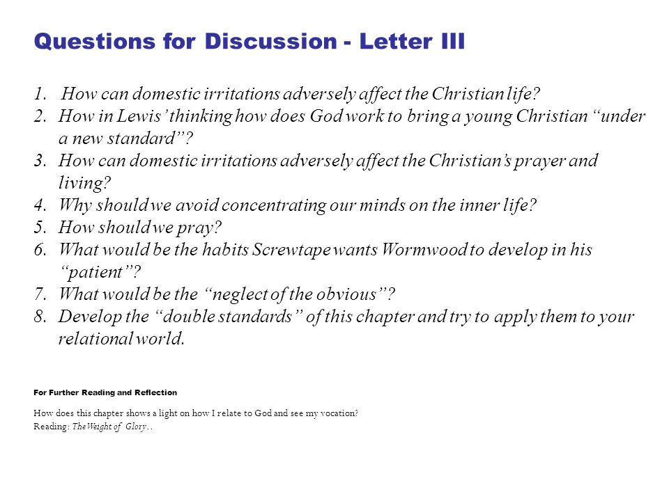Questions for Discussion - Letter III