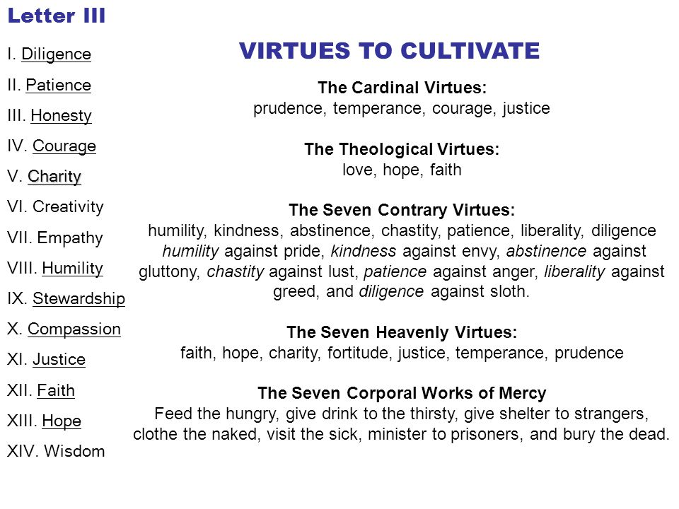 VIRTUES TO CULTIVATE Letter III I. Diligence II. Patience III. Honesty