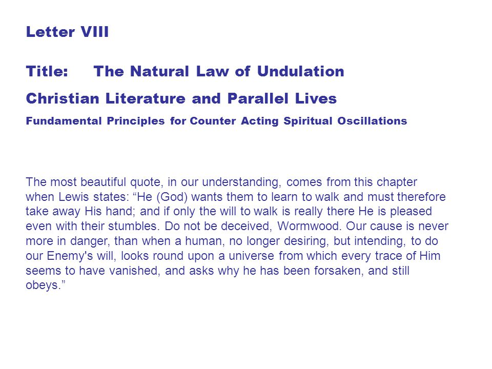 Title: The Natural Law of Undulation