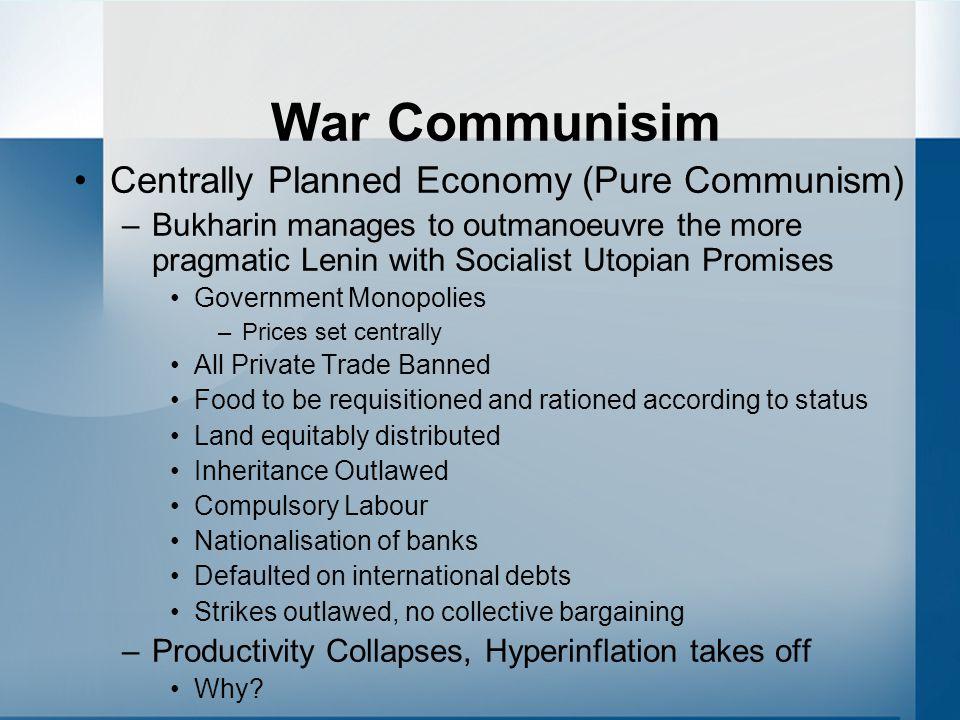 War Communisim Centrally Planned Economy (Pure Communism)