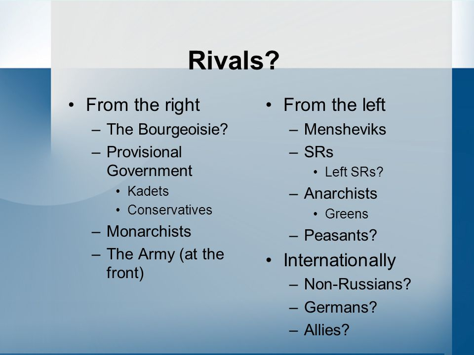 Rivals From the right From the left Internationally The Bourgeoisie
