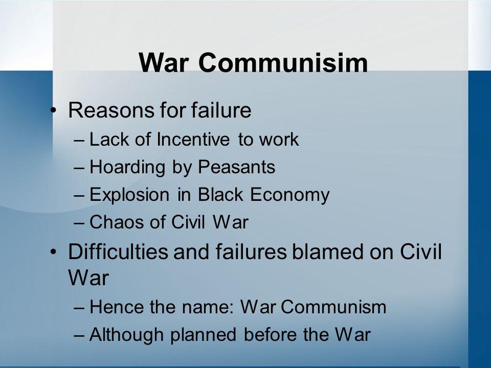 War Communisim Reasons for failure
