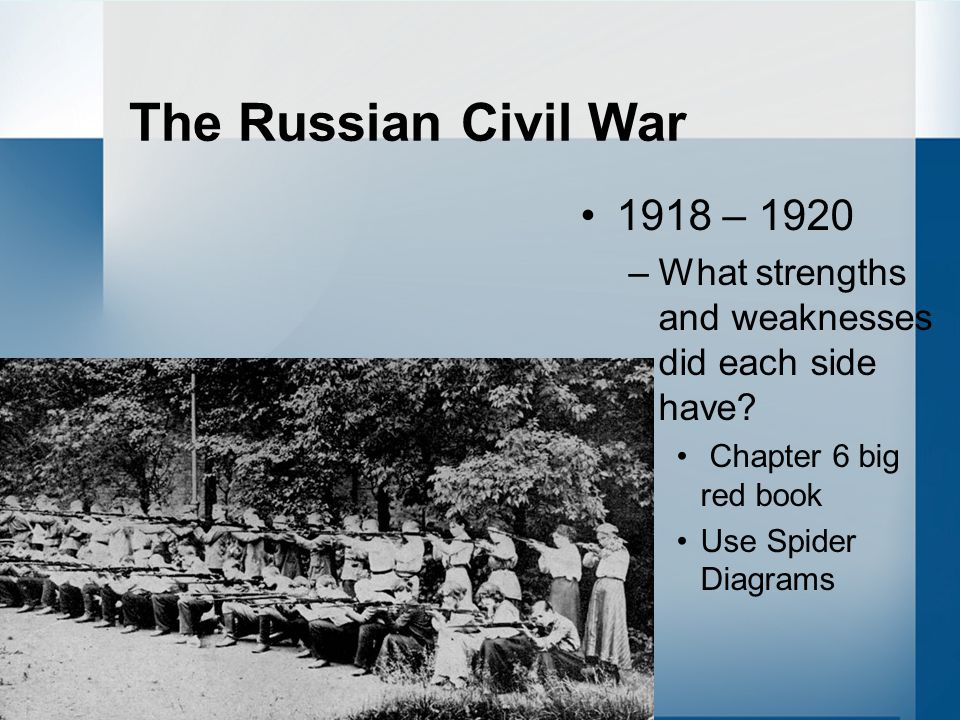 The Russian Civil War 1918 – 1920. What strengths and weaknesses did each side have Chapter 6 big red book.