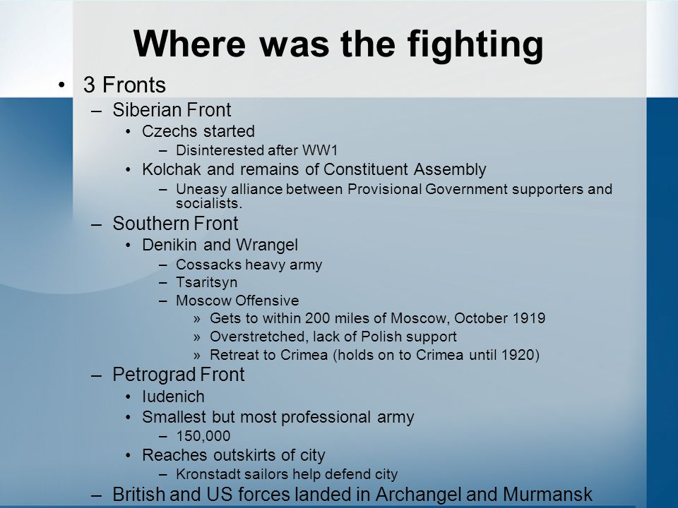 Where was the fighting 3 Fronts Siberian Front Southern Front