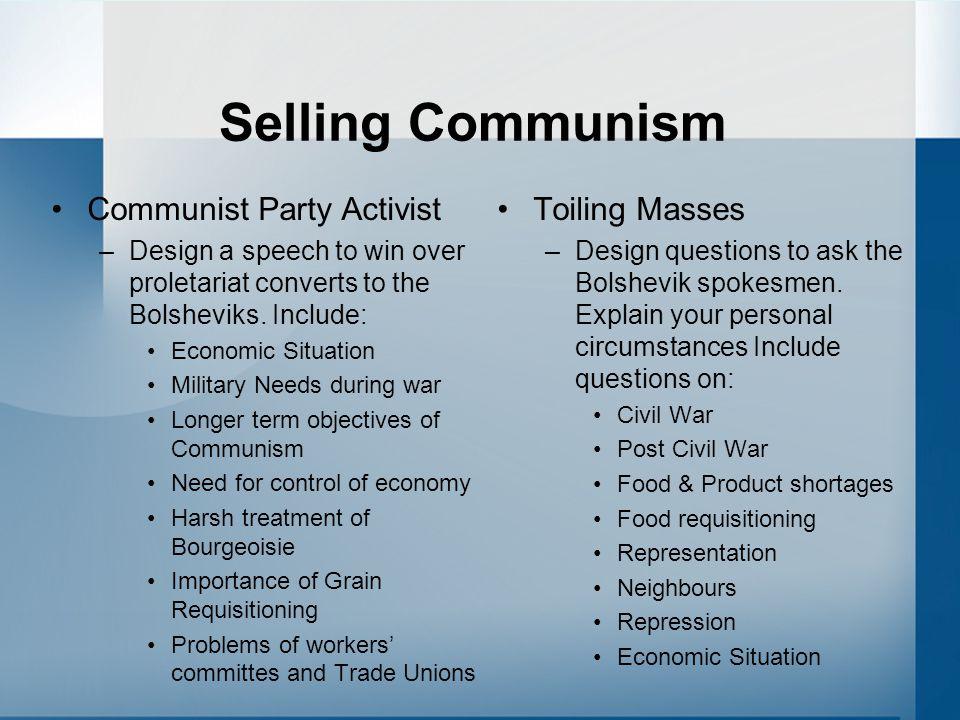 Selling Communism Communist Party Activist Toiling Masses