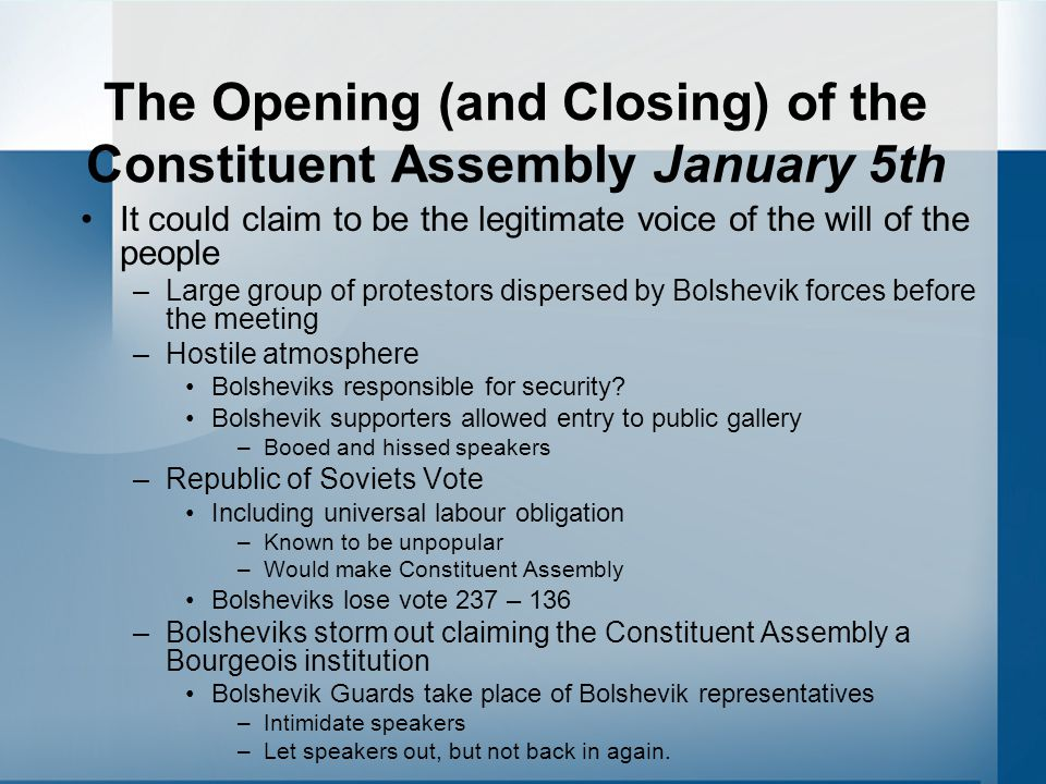 The Opening (and Closing) of the Constituent Assembly January 5th