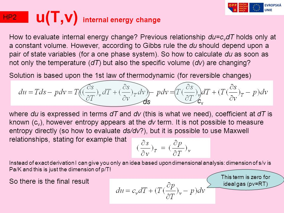 u(T,v) internal energy change