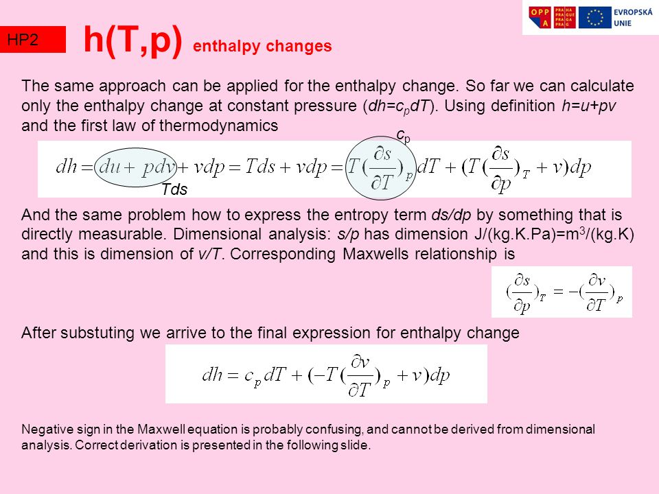 h(T,p) enthalpy changes
