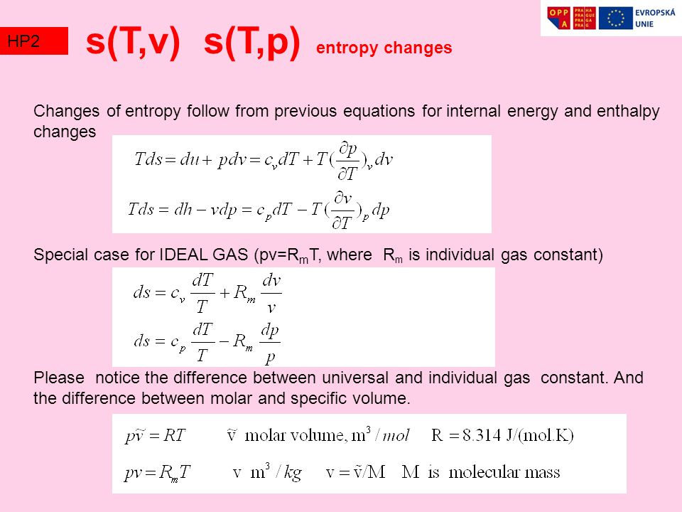 s(T,v) s(T,p) entropy changes