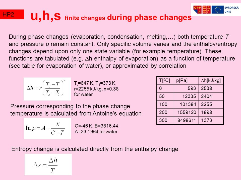 u,h,s finite changes during phase changes
