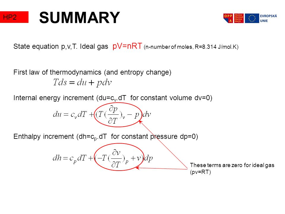 SUMMARY TZ2. HP2. State equation p,v,T. Ideal gas pV=nRT (n-number of moles, R=8.314 J/mol.K) First law of thermodynamics (and entropy change)