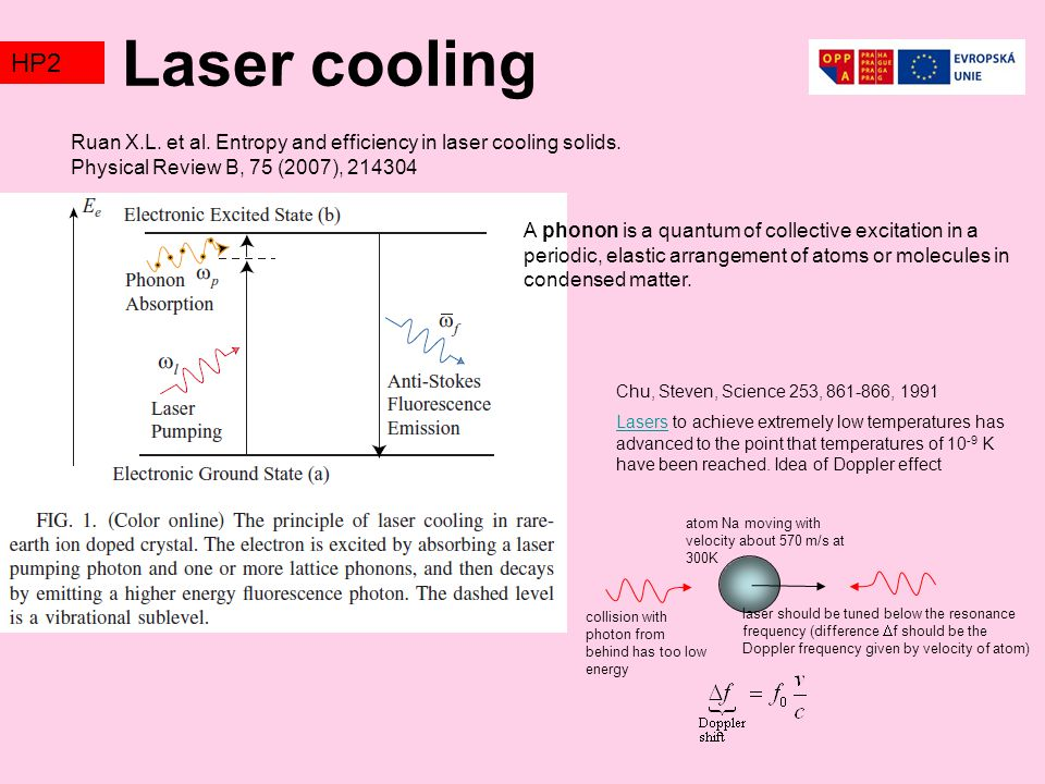 Laser cooling TZ2. HP2. Ruan X.L. et al. Entropy and efficiency in laser cooling solids. Physical Review B, 75 (2007), 214304.