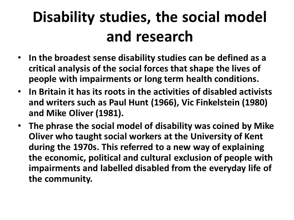 Disability studies, the social model and research