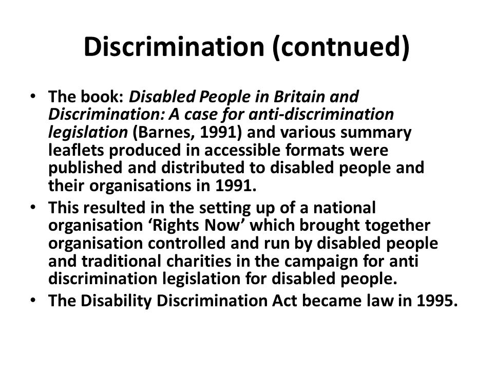 Discrimination (contnued)