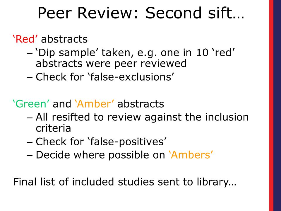 Peer Review: Second sift…