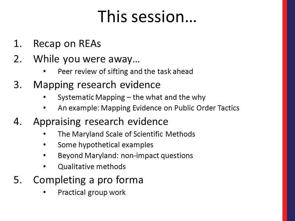 This session… Recap on REAs While you were away…