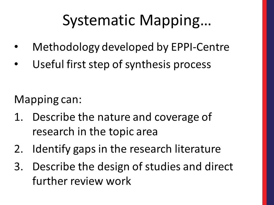 Systematic Mapping… Methodology developed by EPPI-Centre