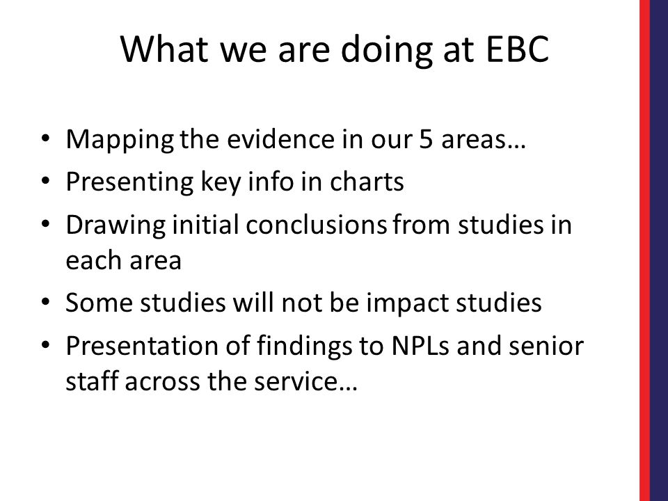 What we are doing at EBC Mapping the evidence in our 5 areas…