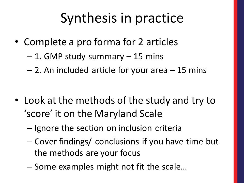 Synthesis in practice Complete a pro forma for 2 articles