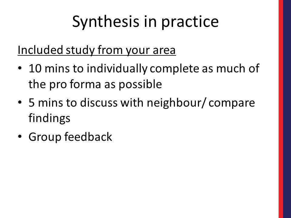 Synthesis in practice Included study from your area