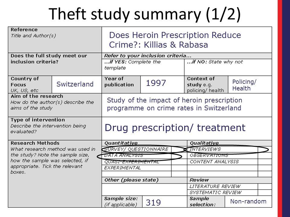 Theft study summary (1/2)