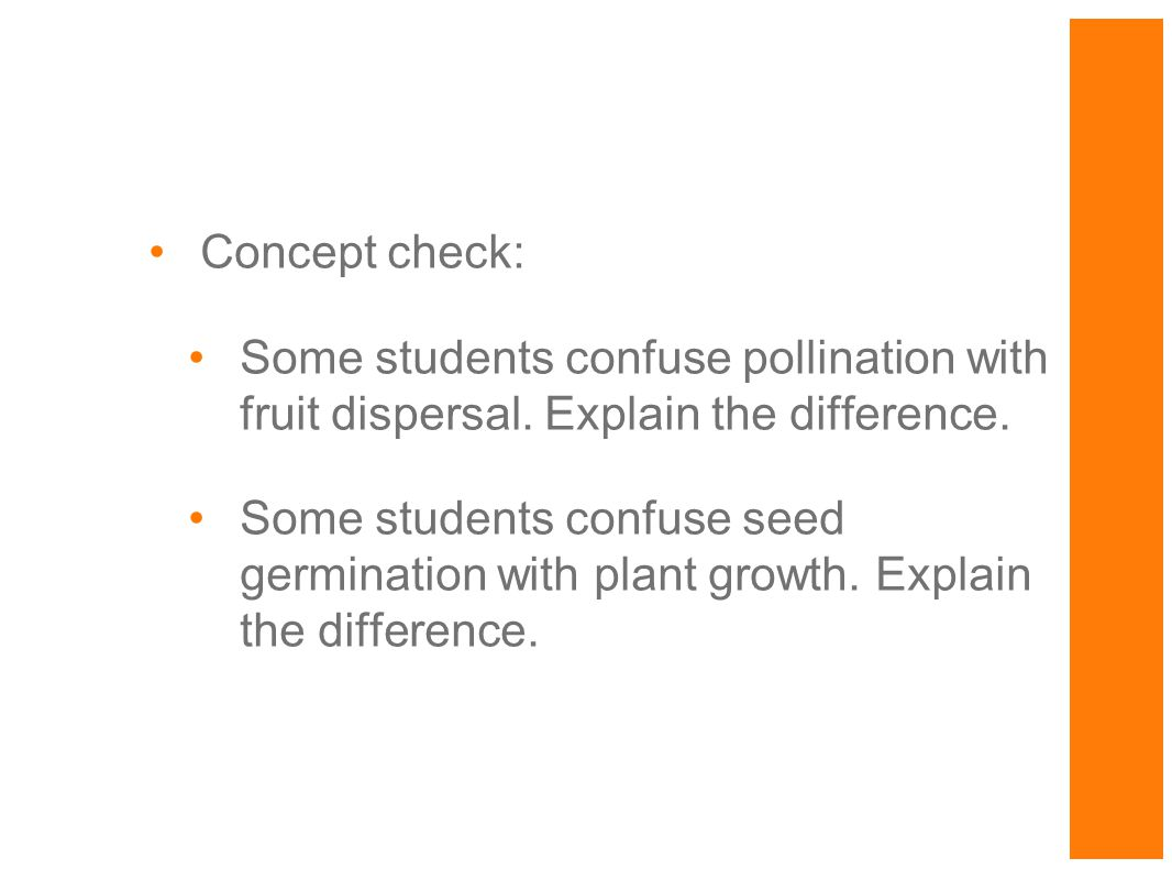 Concept check: Some students confuse pollination with fruit dispersal. Explain the difference.