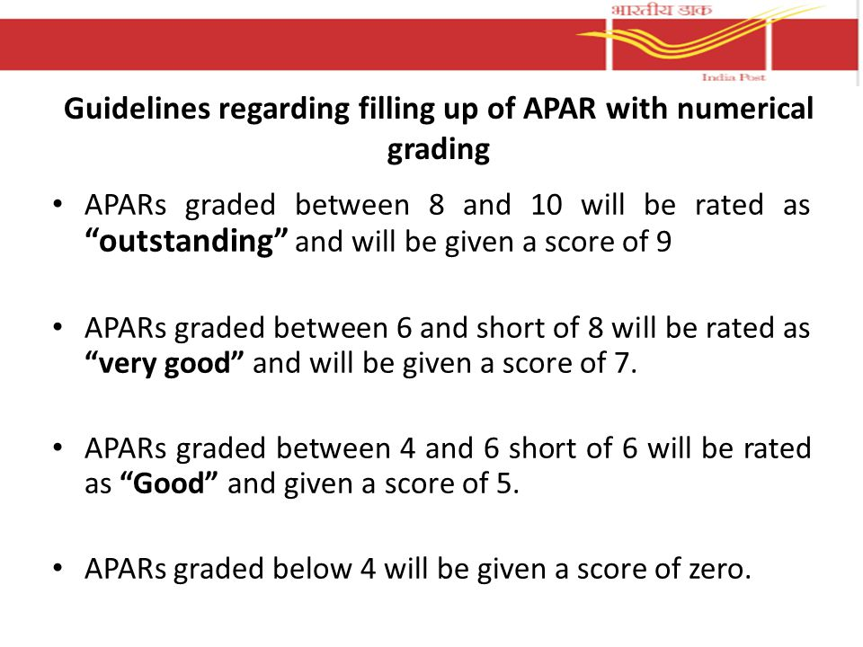 Guidelines regarding filling up of APAR with numerical grading