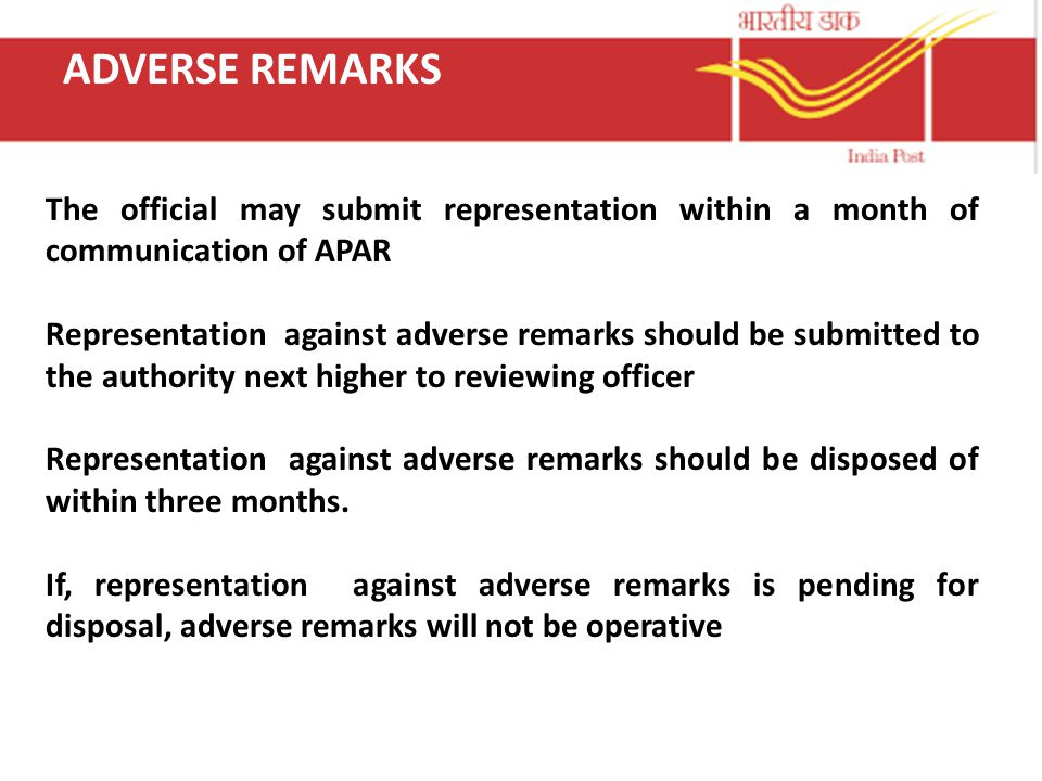 ADVERSE REMARKS The official may submit representation within a month of communication of APAR.