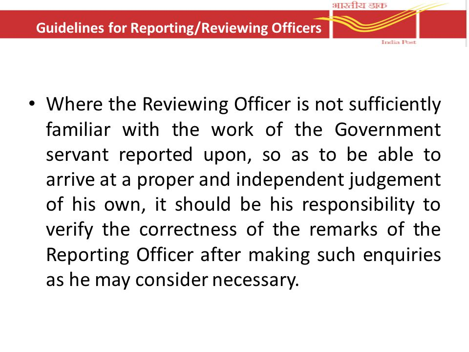 Guidelines for Reporting/Reviewing Officers