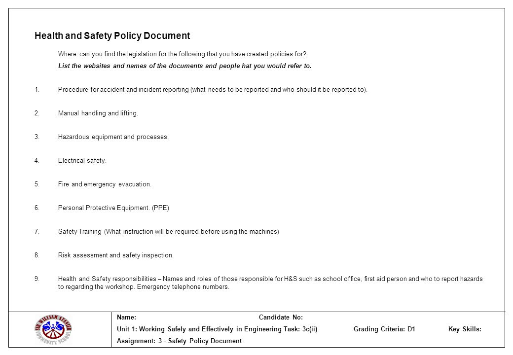 Health and Safety Policy Document