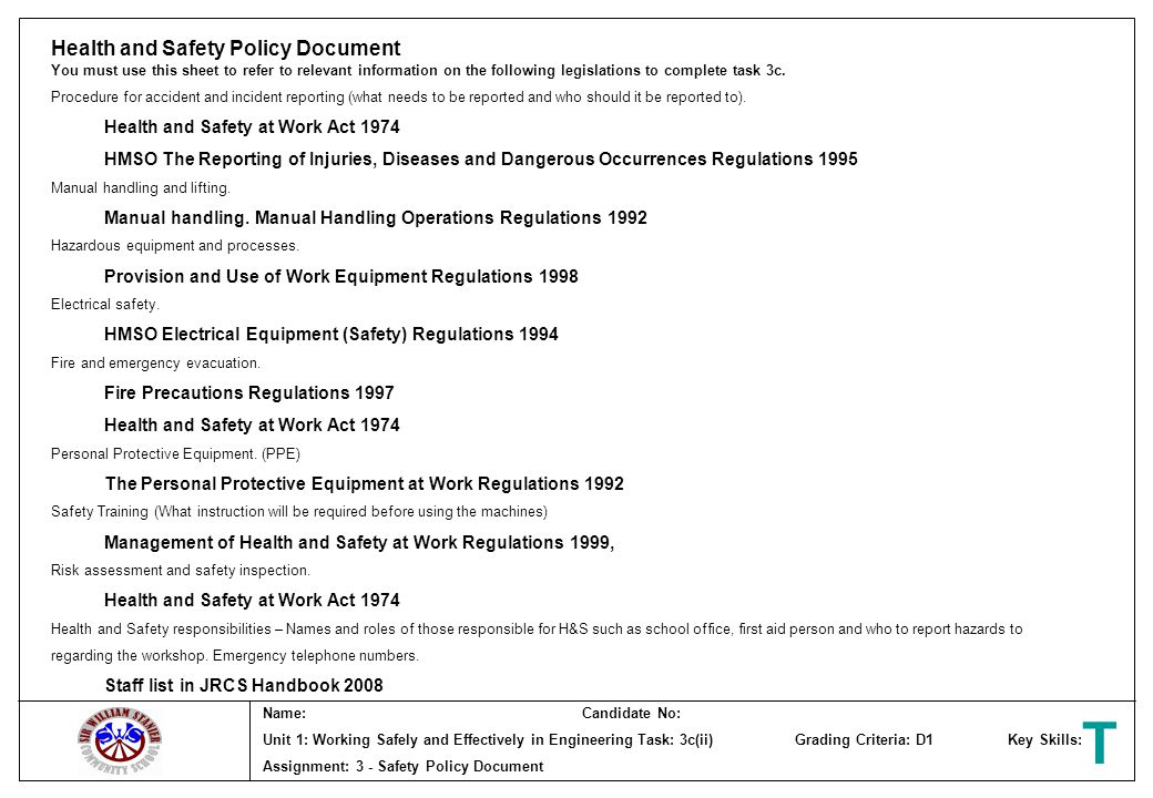 T Health and Safety Policy Document Health and Safety at Work Act 1974