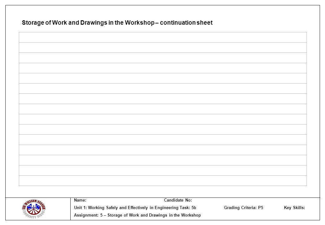 Storage of Work and Drawings in the Workshop – continuation sheet