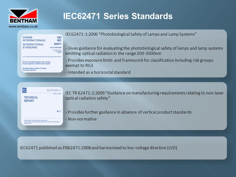 www.bentham.co.uk IEC62471 Series Standards. IEC62471-1:2006 Photobiological Safety of Lamps and Lamp Systems