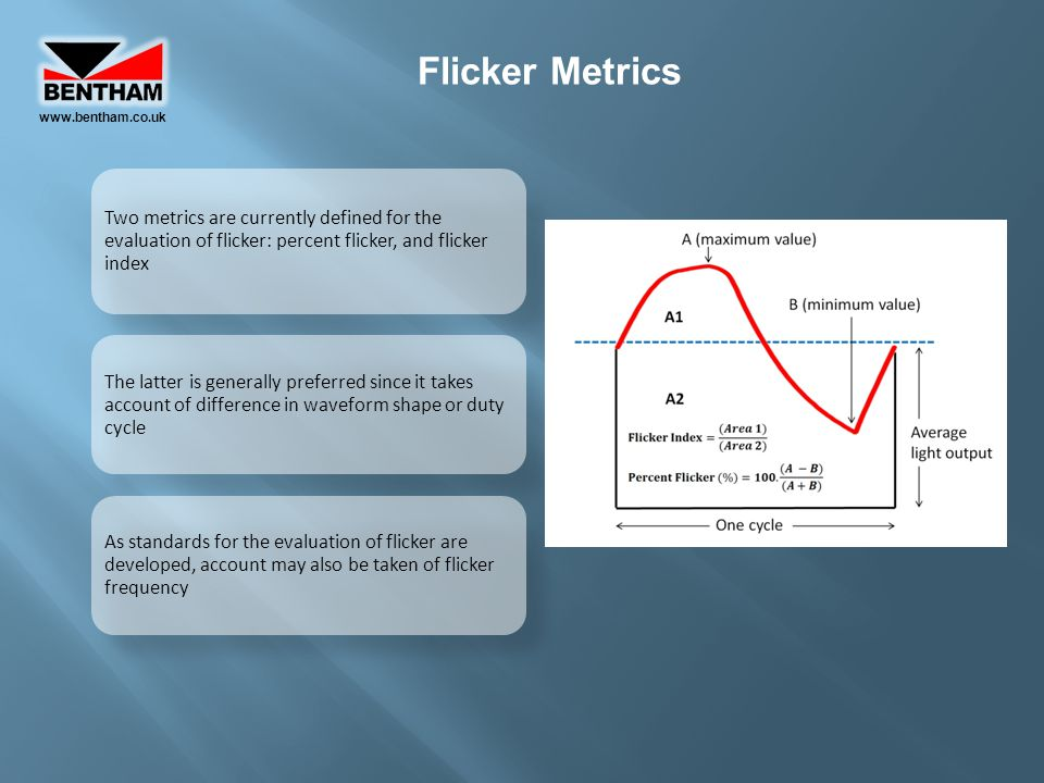 www.bentham.co.uk Flicker Metrics. Two metrics are currently defined for the evaluation of flicker: percent flicker, and flicker index.