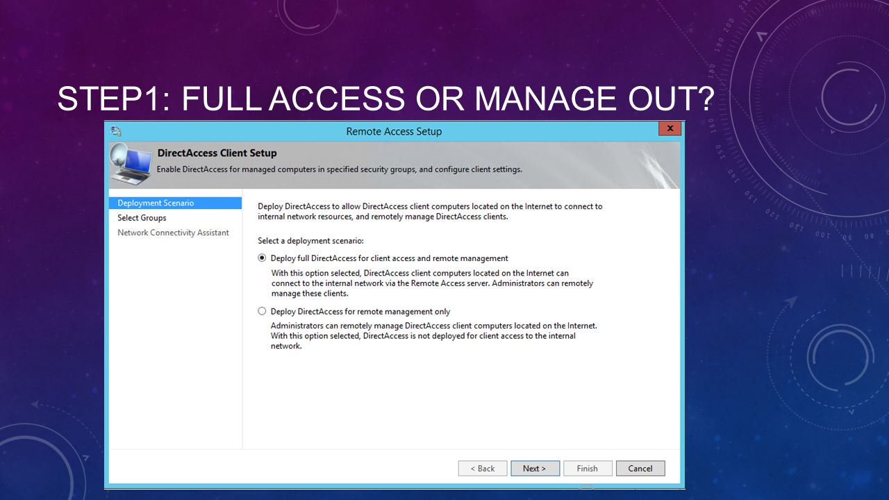 Step1: Full access or manage out