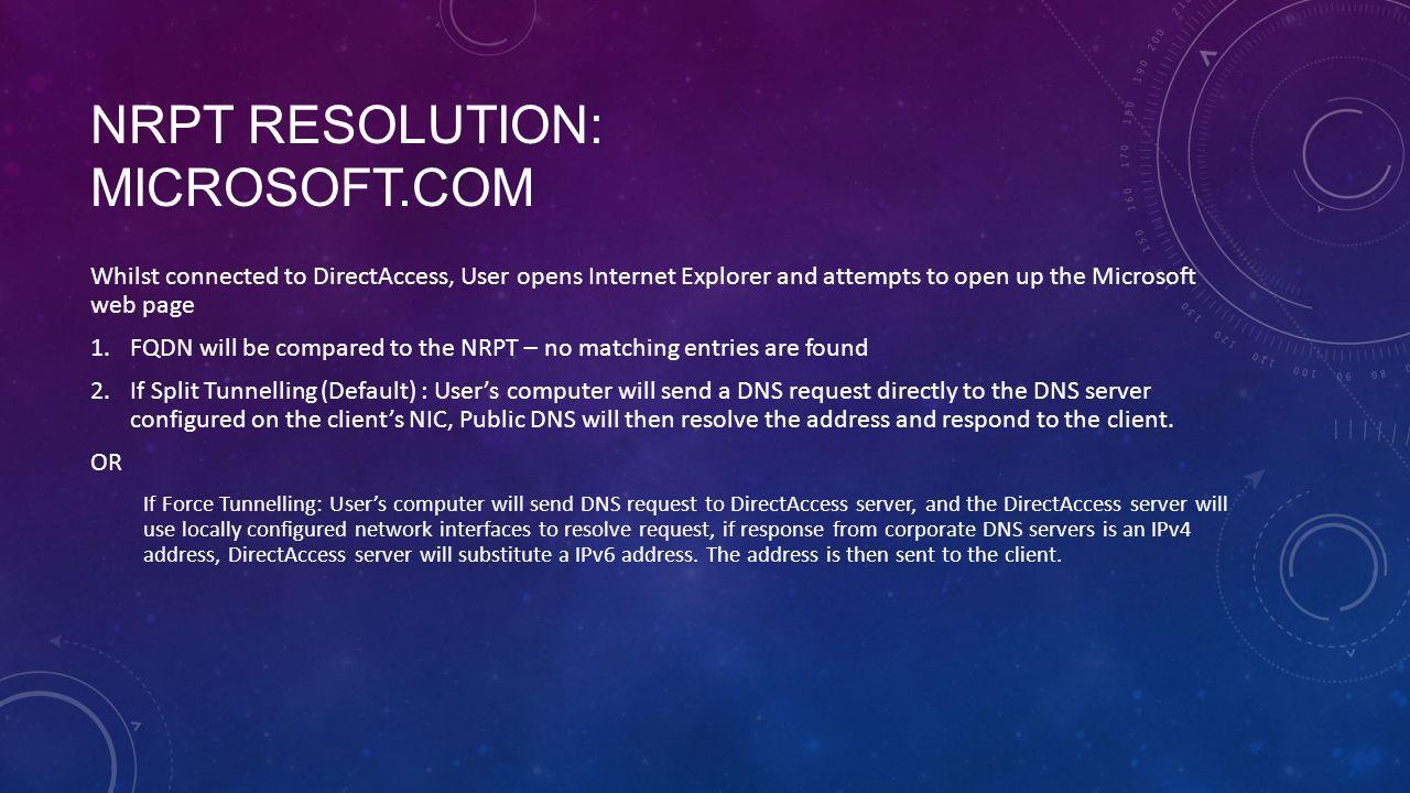 NRPT Resolution: Microsoft.com